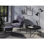 Hocker Tiffy D: ca. 40 cm Anthrazit - Anthrazit/Schwarz, Design, Textil (40/40/40cm) - Livetastic