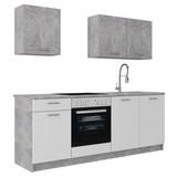 Küchenleerblock Stone 207cm Weiss/beton Hell - Weiß, KONVENTIONELL, Holzwerkstoff (207/60cm)