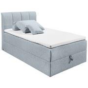Boxspringbett mit Topper & Bettkasten 120x200 Granada - Pastellblau/Schwarz, Basics, Holzwerkstoff/Textil (120/200cm) - MID.YOU