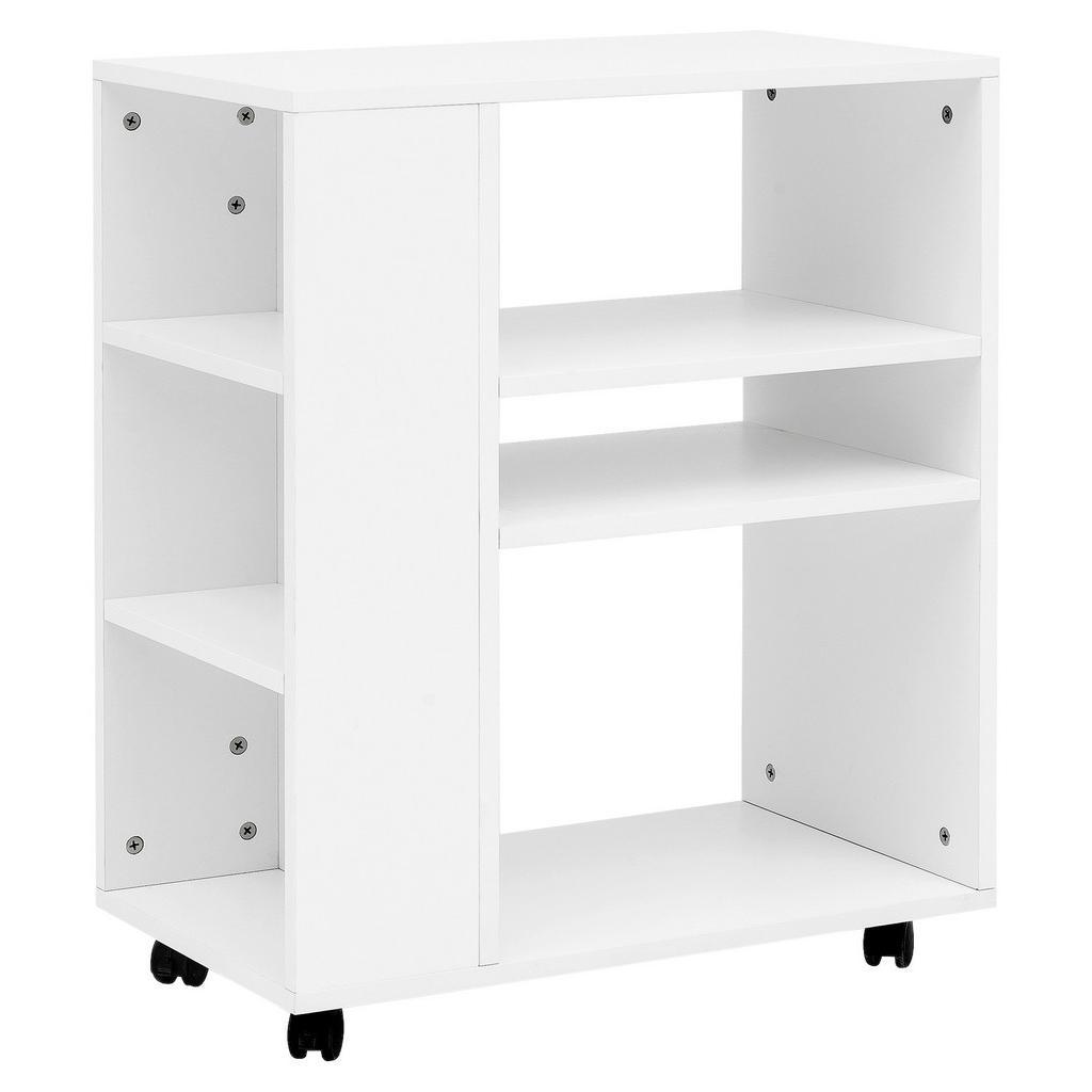 Přístavní stolek/regál bílý s kolečkami