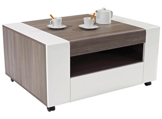 Couchtisch Holz mit Ablagefach + Lade Toronto, Avola Dekor - Dunkelgrau/Weiß, MODERN, Holzwerkstoff (110/48,3/75cm) - Ombra