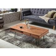 Massiver Couchtisch Holz mit Ablagefach Bagli, Akazie - Schwarz/Akaziefarben, Design, Holz/Metall (117/60/43cm) - Livetastic