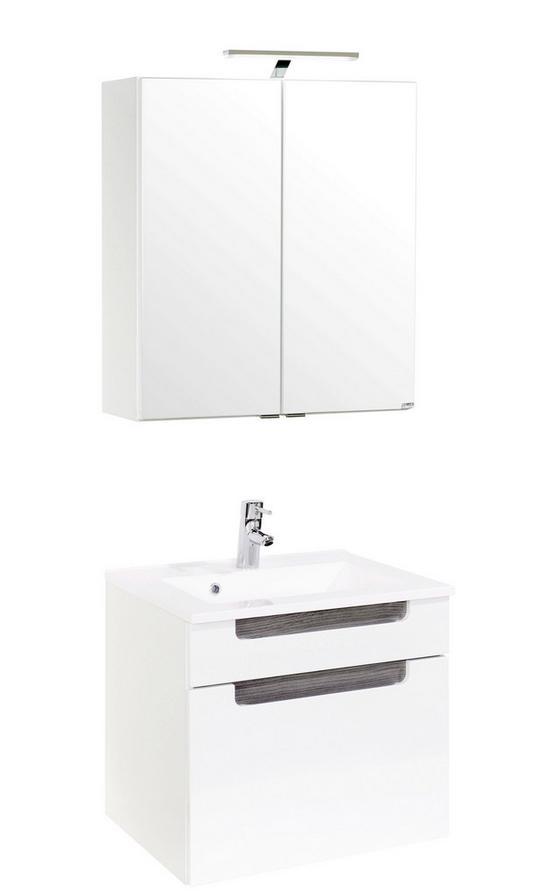 Badezimmer Siena 60cm Weiß/eiche - Eichefarben/Weiß, MODERN, Holzwerkstoff/Kunststoff (60/48cm)