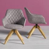 Stolička Fenna - hnedá/sivá, drevo/textil (60/81/64cm) - MODERN LIVING