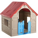 Spielhaus Foldable Playhouse - Beige/Rot, MODERN, Kunststoff (102/90/111cm)