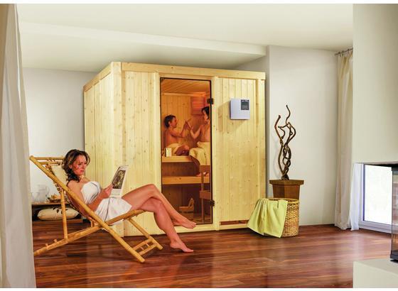 Sauna Cassis mit Ext. Steuerung 196x198x196 cm - Naturfarben, MODERN, Holz (196/198/196cm) - Karibu