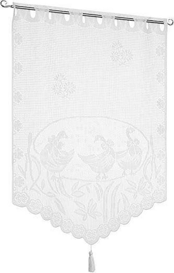 Kurzgardine Lace - Weiß, KONVENTIONELL, Textil (60/90cm) - Ombra