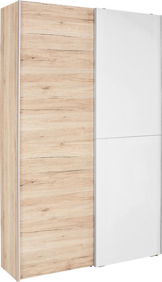 Schwebetürenschrank Heimo B:125cm Eiche San Remo/Weiß - Eichefarben/Weiß, KONVENTIONELL (125/195/38cm)