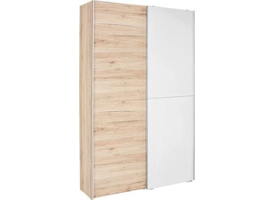 Skříň S Pos. Dveřmi.(hor.ved.) Heimo - bílá/barvy dubu, Konvenční (125/195/38cm)