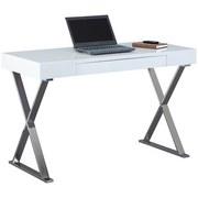 Schreibtisch mit Stauraum B 120cm H 75cm Grace, Weiß - Chromfarben/Weiß, Design, Holzwerkstoff/Metall (120/55/75cm) - Livetastic