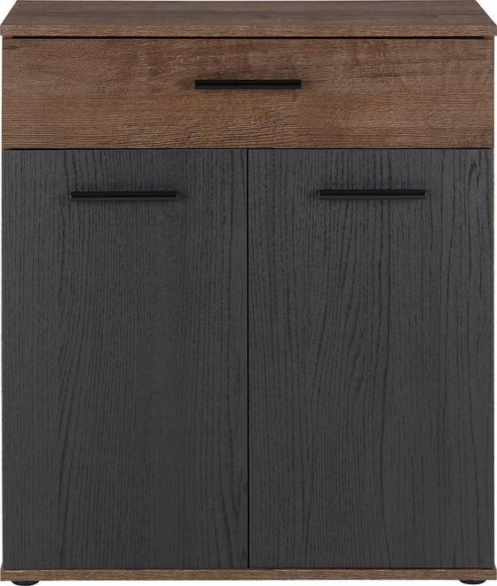 Komoda Tokio - barvy dubu/černá, Moderní, kov/dřevěný materiál (69,9/82,8/34,9cm)