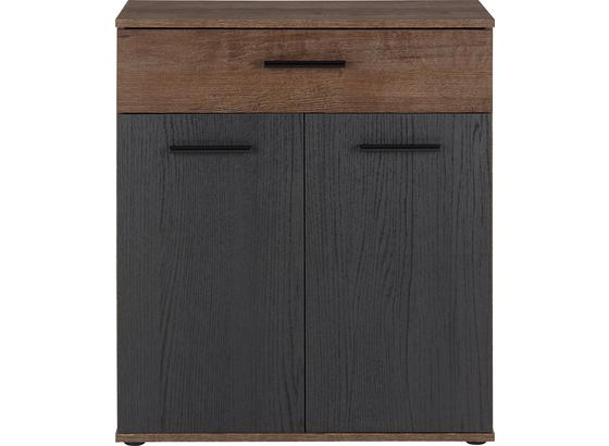 Komoda Tokio - černá/barvy dubu, Moderní, kov/kompozitní dřevo (69,9/82,8/34,9cm)