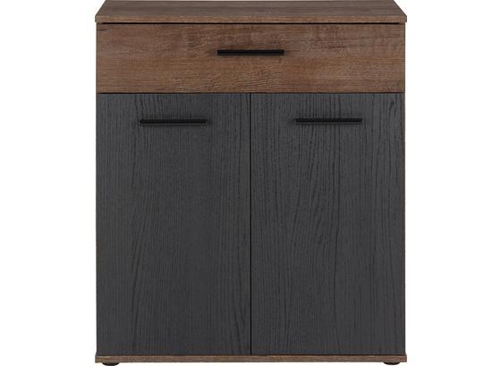 Komoda Tokio - farby dubu/čierna, Moderný, kov/kompozitné drevo (69,9/82,8/34,9cm)