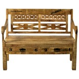 Sitzbank Brion B: 120 cm Mangoholz - Schwarz/Naturfarben, Basics, Holz (120/95/60cm) - MID.YOU