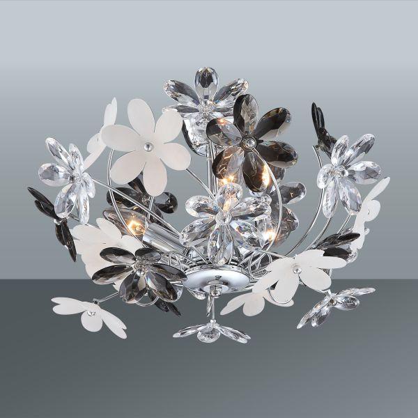 Stropná Lampa Rosi - sivá/biela, Romantický / Vidiecky, umelá hmota/kov (46/27cm)