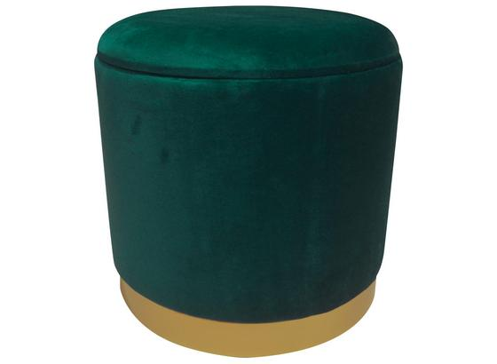 Hocker Velvet B: 35 cm Grün - Goldfarben/Grün, MODERN, Holzwerkstoff/Textil (35/35/35cm)