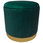Hocker Velvet - Goldfarben/Grün, MODERN, Holzwerkstoff/Textil (35/35/35cm)