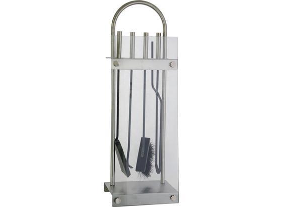 Kaminbesteck Edelstahl - Transparent/Silberfarben, Glas/Metall (72cm)