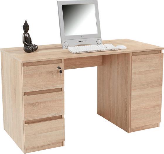 Íróasztal Stefan - Sonoma tölgy, modern, faanyagok (138/74,4/55cm)