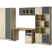 Jugendzimmer Gap B: 283 cm Eiche/Anthrazit - Eichefarben/Anthrazit, Basics, Holzwerkstoff (194/283/54cm) - Livetastic